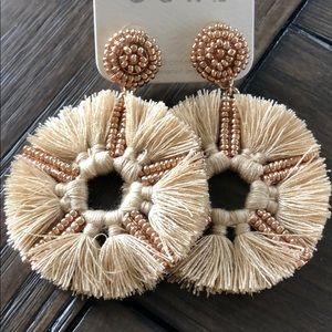 Fan Tassel Bead Earrings Taupe Gold